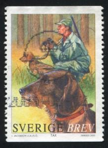 Jagddackel auf einer Briefmarke