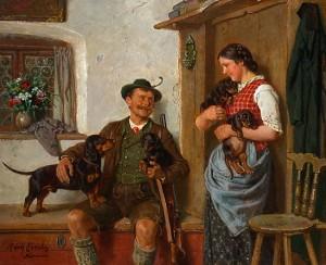 Jäger mit Teckelfamilie