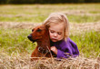 little curly girl hugging a dog of breed Dachshund on the field